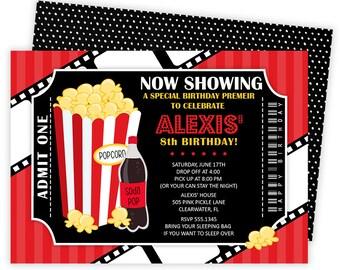 Movie Invitation,  Movie Party,  Movie Birthday,  Birthday Invitation,  Movie Invite,  Movie Ticket,  Ticket Invitation,  Movie Night   505