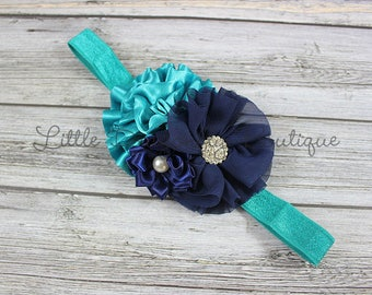 Teal and navy cluster {turquoise and navy, blue headband, dark blue, toddler headband}