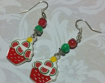 15% OFF SALE Lucious Watermelon Cupcake Dangle Earrings