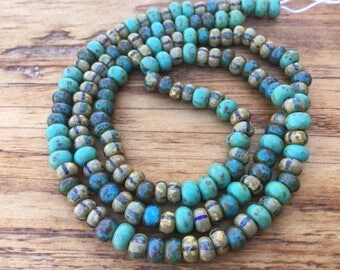 Aged turquoise striped picasso mix seed beads, 5x4mm round glass czech beads