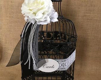 Large Black Wedding BirdCage Card Holder, Wedding Card Box, Wedding Money Holder, Wedding Money Box, Gift Card Holder