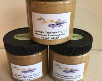 SPA Uptown Rhassoul Clay 3 jar set: Mask,Sugar Scrub,Salt Scrub with Chamomile, Lavender, Tea Tree 8 fl oz each
