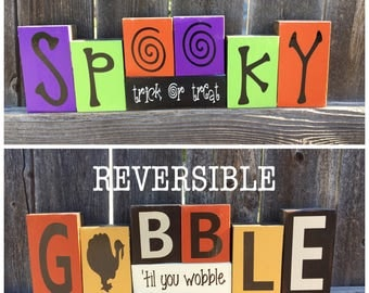 Reversible Halloween a d Thanksgiving blocks--Spooky trick or treat revers with Gobble 'til you wobble