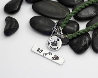 I Love My Marine Hand Stamped | Custom | Boot Band Bracelet