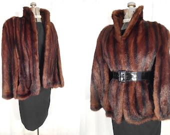 1950s Fur Coat - Vintage Mink Fur Swing Coat, Fur Wrap Cape Stole
