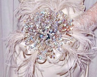 Handmade 300 czech glass crystal bridal bouquet (with or without ostrich feathers)