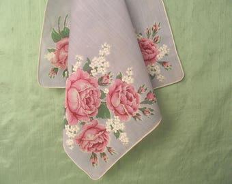 Floral handkerchief / vintage pink rose hankie