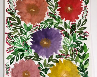 "8-1/2"" x 11-1/4"" Hand painted flowers - Original Painting"