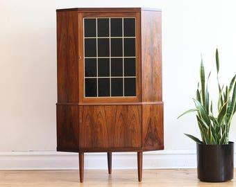 Mid Century Modern Danish Rosewood Corner Cabinet