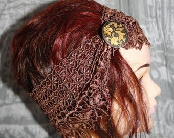 in Brown lace headband