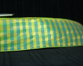 vintage drahtkante green and yellow gingham Ribbon