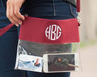 Monogrammed Clear Stadium Bag Zipper Zip Pouch Clutch Cosmetic Game Day Purse Strap