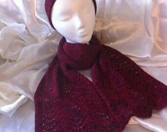 Handmade Knitting Burgundy Red scarf, women scarf, women gift