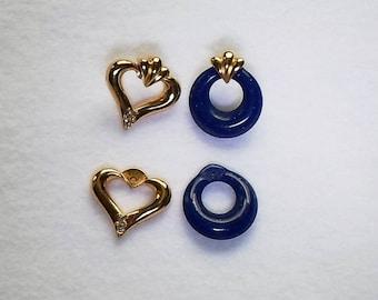 Vintage Avon Jewelry Gold Tone & Blue Convertible Pierced Earrings