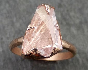 Raw Rough and partially Faceted Pink Topaz 14k rose Gold Ring One Of a Kind Gemstone Ring Recycled gold byAngeline 0550