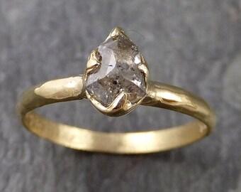 Fancy cut salt and pepper Diamond Solitaire Engagement 18k yellow Gold Wedding Ring Diamond Ring byAngeline 1054