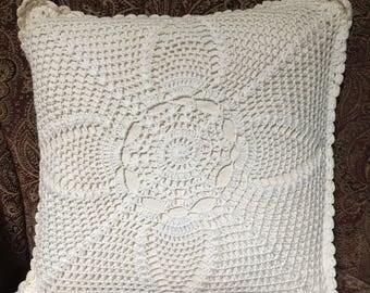 Crocheted Ivory Pillow Sham