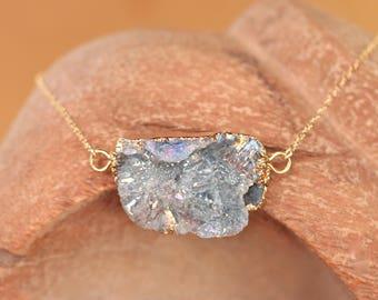 Opal aura necklace - aqua aura druzy necklace - raw crystal necklace