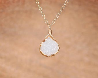 Raw crystal necklace - sparkly necklace - druzy necklace - gold drop necklace - wedding jewelry