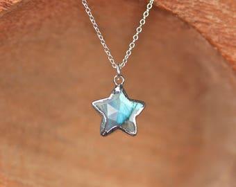 Labradorite star necklace - silver star necklace - moonstone star necklace - crystal star necklace