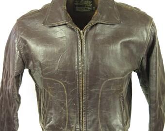 Vintage 60s Leather Biker Jacket Mens 40 Motorcycle D Pockets Sears Fleece Liner [G92R_3-6_Leather]