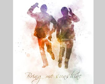 Morecambe and Wise ART PRINT illustration, Bring me Sunshine, Quote, Wall Art, Home Decor, Gift