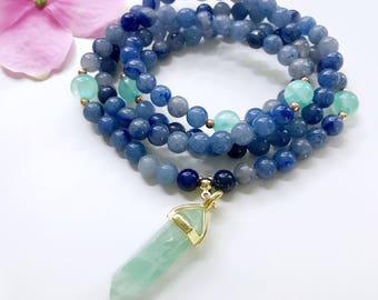 Prayer Beads, Aventurine Mala Necklace, 108 Mala Beads, Mala Necklace, Mala, Meditation Bead, Mala Beads, Mala Prayer Bead, Japa Mala, MBAG8