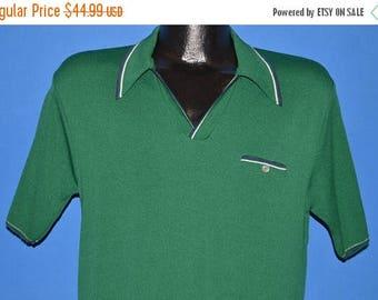 ON SALE 70s Kingsport Green Poor Boy Polo Shirt Medium