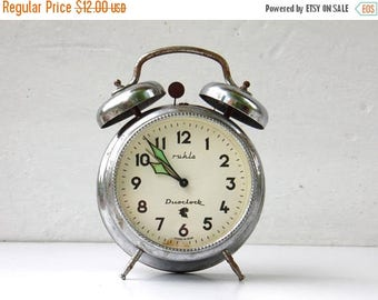 ON SALE Vintag Mechanical Alarm Clock with Bell - Ruhla