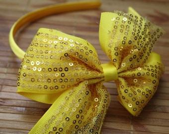 Yellow sequin headband