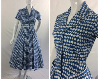1950s Cotton Day Dress, Horrockses , Royal Blue & White, Summer, UK size 10, US size 8.