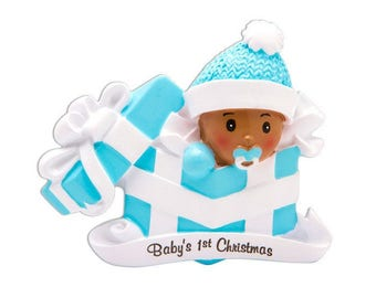 COMING SOON! African American Baby Boy Personalized Christmas Ornament / Baby's 1st Christmas / Baby's First Christmas / New Baby Ornament