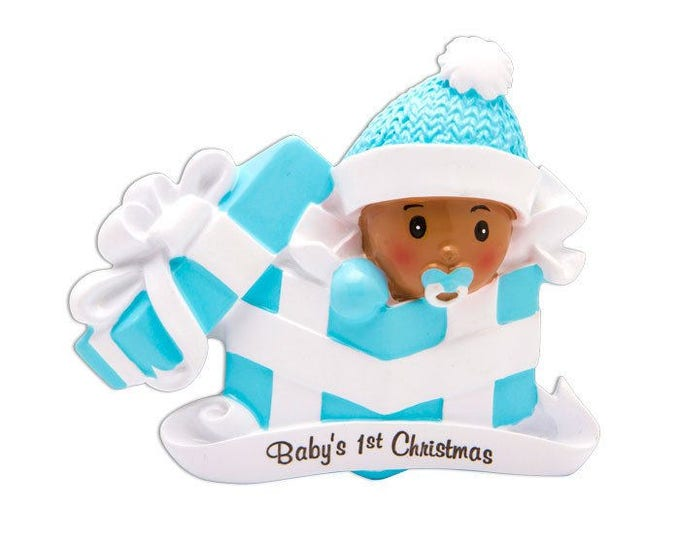 Featured listing image: COMING SOON! African American Baby Boy Personalized Christmas Ornament / Baby's 1st Christmas / Baby's First Christmas / New Baby Ornament