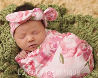 Floral swaddle set/ Baby girl swaddle set/ Baby shower gift/ Newborn girl swaddle set/ Headband swaddle set/Baby headband set/Baby girl gift