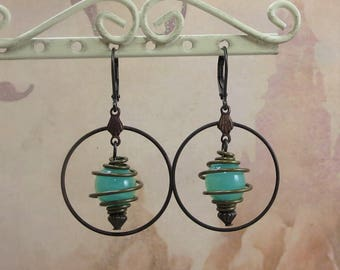 Boho Earrings Bohemian Hoop Earrings Caged Bead Earrings Sea Green
