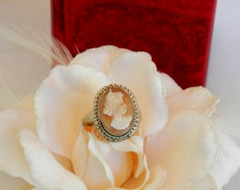 Sterling Silver Cameo Ring, Vintage Ring, Cameo Jewelry