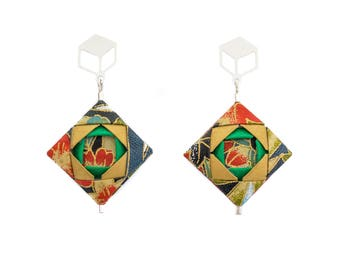 Origami Earrings; Origami Jewelry, Origami Jewellery; Origami; Paper Jewelry; Washi Paper; Japan; Folded Jewelry; Girlfriend Gift