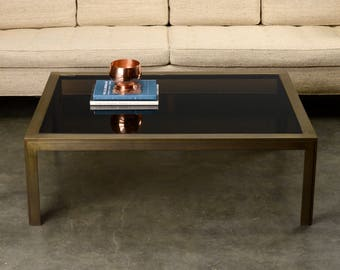 Large Mid Century Coffee Table Burnished Brass Rectangular