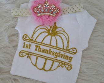 My first thanksgiving shirt, pink and gold outfit, baby crown headband, thanksgiving baby shirt