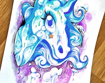 Rain Horse made of Clouds - Original or Print for Decoration A6/A4 Art - Fantasy Pferd Watercolor Gouache Kid fairy tale Illustration RPG