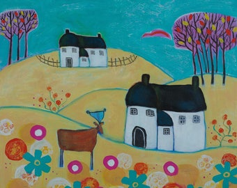 Naive Landscape, Summer Painting, Floral Artwork, Cottages and Deer, Lyre and Music Painting, Yellow and Turquoise Artwork, Nature Painting