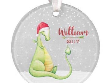 Dinosaur Ornament, Dragon Ornament, Personalized Dinosaur Ornamenat, Personalized Ornament, Boys Dinosaur Ornament, Christmas Ornament