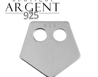 Geometric 11.7 mm sterling silver charm shaped Pentagon with two holes