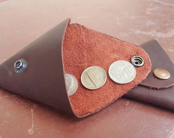Leather Coin Purse Pouch or Holder in Brown