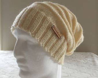 Creamy white wool women slouchy handmade knitted beanie, creamy white knit beanie, women knit hat, slouchy knitted beanie.