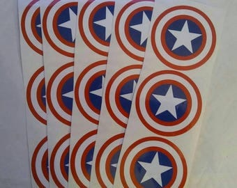 Captain America Party Favor Stickers