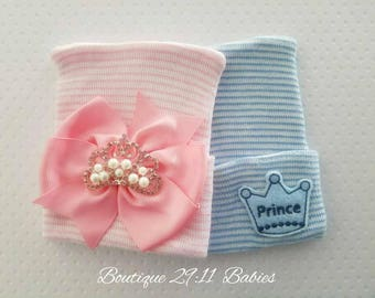 TWO Newborn Hospital Hat with Princess Bow AND Prince Emblems -baby girl hat-baby boy hat-coming home hat