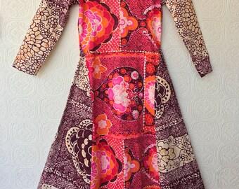 1960's Batik Print Cotton Maxi Dress