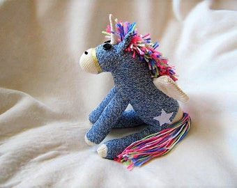 Sock Monkey Horse Pony Alicorn -  Unicorn + Pegasus - Rainbow Maned Blue - Star Tatooo Stuffed Animal Toy Plush Doll
