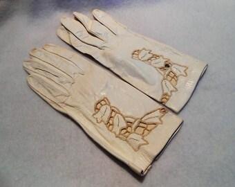 Hand Embroidered Kidskin Gloves With Cut Work, c. 1950